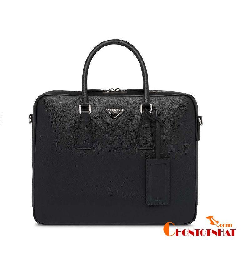 Prada Saffiano Leather Briefcase thiết kế ấn tượng