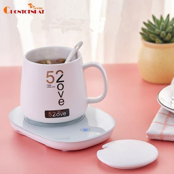Đế giữ nhiệt cho cốc màu trắng hâm nóng 55 độ uống trà uống cafe