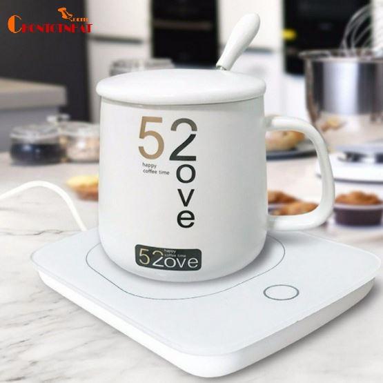 Đế hâm nóng giữ nhiệt đồ uống trà cafe sữa kèm cốc và thìa