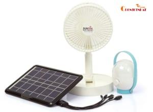 Quạt năng lượng mặt trời kèm bóng đèn tích điện SUNTEK SHM1