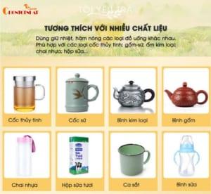 Đế giữ nhiệt cho cốc tương thích với rất nhiều chất liệu khác nhau